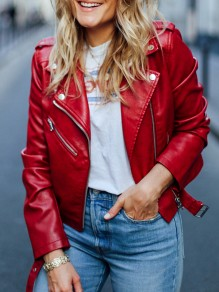 Red Patchwork Pockets Zipper Turndown Collar Long Sleeve Fashion Leather Coat