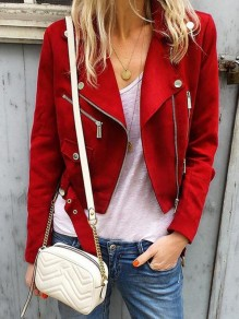 Red Patchwork Pockets Zipper Turndown Collar Long Sleeve Fashion Suede Coat