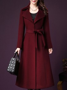 Wine Red Patchwork Single Breasted V-neck Long Sleeve Fashion Outerwears