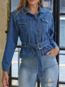Blue Pockets Buttons Belt Turndown Collar Long Sleeve Fashion Jeans Coat