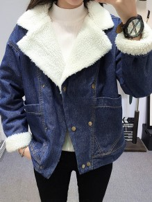 Dark Blue Pockets Buttons Turndown Collar Long Sleeve Lambswool Jeans Coat
