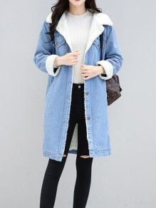 Light Blue Pockets Buttons Turndown Collar Long Sleeve Lambswool Jeans Coat