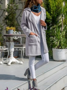Grey Pockets Bodycon Comfy Long Sleeve Going out Outerwears
