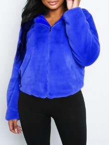 Blue Faux Fur Zipper Hooded Long Sleeve Fluffy Cute Jacket Outerwear