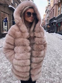 Khaki Faux Fur Pockets Hooded Warm Thick Long Sleeve Plus Size Bubble Fur Coat Outerwear