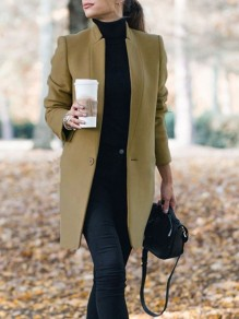 Khaki Pockets Buttons Band Collar Long Sleeve Elegant Blazer Wool Coat