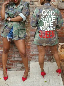 "Green Camouflage ""GOD SAVE THE ICONIC QUEEN"" Print Pockets Buttons Long Sleeve Coat Outerwear"