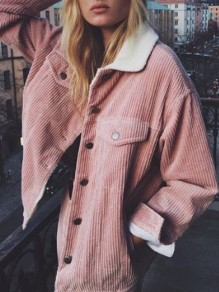 Pink Pocket Button Corduroy Fur Turndown Collar Long Sleeve Fashion Outerwear
