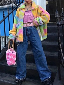 Yellow Tie Dye Pocket Turndown Collar Long Sleeve Oversize Teddy Coat