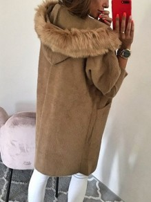 Khaki Fur Button Turndown Collar Long Sleeve Elegant Coat