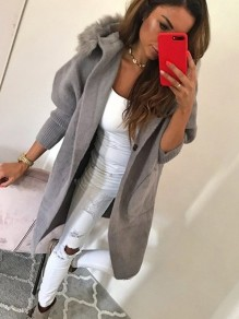Grey Fur Button Turndown Collar Long Sleeve Elegant Coat