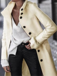 White Button Turndown Collar Long Sleeve Elegant Woll Coat
