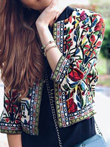 Camel Floral Tribal Print Three Quarter Length Sleeve Fashion Coat