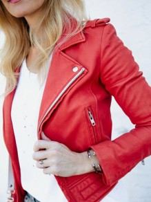 Red Pocket Zipper Turndown Collar PU Leather Long Sleeve Coat