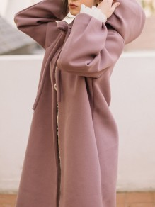 Pink Lace-up Cloak Hooded Collar Long Sleeve Elegant Coat