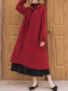 Red Lace-up Cloak Hooded Collar Long Sleeve Elegant Coat