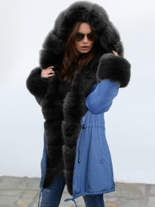Blue Pocket Black Fur Hooded Drawstring Long Sleeve Fashion Outerwear