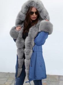 Blue Pocket Grey Fur Hooded Drawstring Long Sleeve Fashion Outerwear
