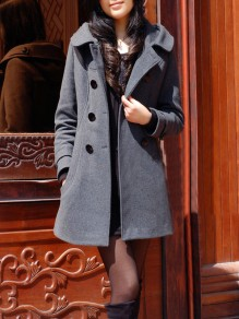 Grey Pockets Buttons Hooded Long Sleeve Fashion Wool Coat