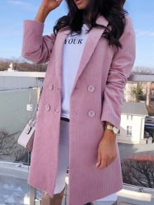 Pink Double Breasted Pockets Turndown Collar Long Sleeve Blazer Coat