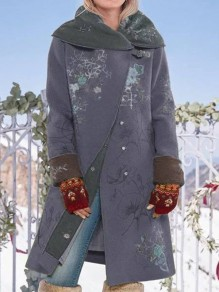 Grey Floral Pockets Hooded Long Sleeve Fashion Oversize Wool Coat