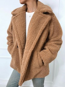 Brown Pockets Buttons Turndown Collar Long Sleeve Oversize Teddy Coat