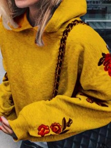 Yellow Print Hooded Long Sleeve Oversize Pullover Fashion Sweater