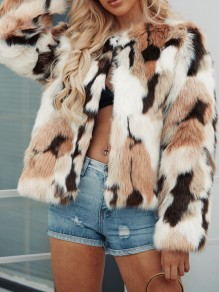 Brown Color Block Faux Fur Round Neck Pocket Long Sleeve Outerwear
