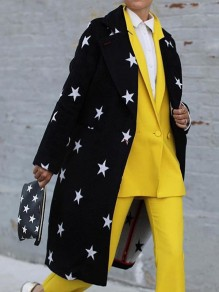 Black White Star Print Pockets Tailored Collar Long Sleeve Long Coat Outerwear