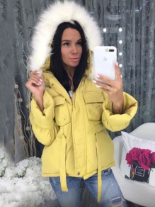 Yellow Pockets Fur Zipper Hooded Long Sleeve Fashion Padded Coats