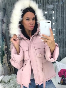 Pink Pockets Fur Zipper Hooded Long Sleeve Fashion Padded Coats