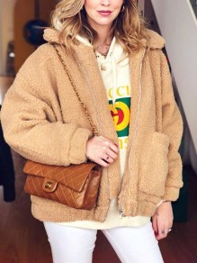Camel Pocket Turndown Collar Long Sleeve Oversize Teddy Coat