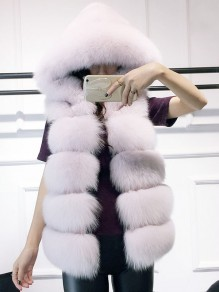 White Faux Fur V-neck Sleeveless Elegant Hooded Cardigan Vest Coat Outerwear