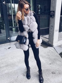 Grey Faux Fur V-neck Sleeveless Elegant Long Vest Outerwear