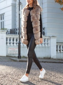Khaki Faux Fur V-neck Sleeveless Elegant Long Vest Outerwear