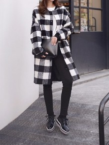White Plaid Buttons Pocket Turndown Collar Long Sleeve Elegant Wool Coat