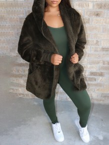 Green Pockets Hooded Long Sleeve Faux Fur Fluffy Jacket Thick Coat Outerwear
