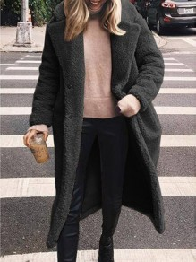 Black Buttons Pockets Turndown Collar Long Sleeve Faux Fur Fluffy Going out Long Wool Coat