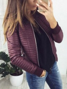 Purple Zipper Round Neck Long Sleeve Fashion Jacket