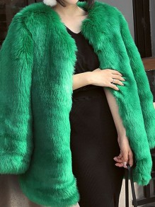 Green Faux Fur Round Neck Long Sleeve Elegant Coat