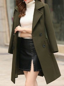 Army Green Button Pocket Turndown Collar Long Sleeve Elegant Wool Coat