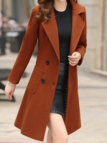 Brown Button Pocket Turndown Collar Long Sleeve Elegant Wool Coat