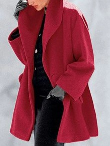 Red Button Turndown Collar Long Sleeve Elegant Wool Coat
