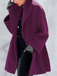 Purple Button Turndown Collar Long Sleeve Elegant Wool Coat