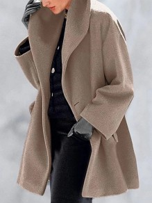 Camel Button Turndown Collar Long Sleeve Elegant Wool Coat
