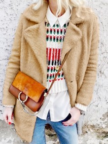 Khaki Button Turndown Collar Long Sleeve Oversize Teddy Coat