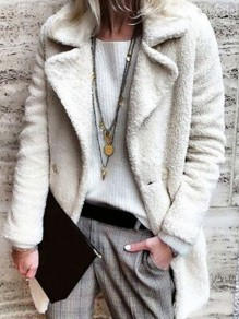 White Button Turndown Collar Long Sleeve Oversize Teddy Jacket Coat