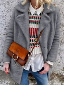 Grey Button Turndown Collar Long Sleeve Oversize Teddy Coat