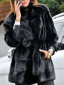 Black Belt Lace-up Pockets Band Collar Long Sleeve Bubble Fox Faux Fur Fluffy Thick Mink Plus Size Coat Outerwear