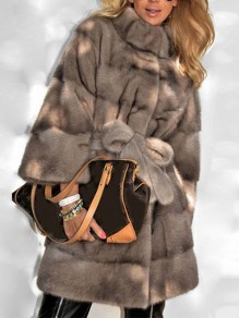 Grey Belt Lace-up Pockets Band Collar Long Sleeve Bubble Fox Faux Fur Fluffy Thick Mink Plus Size Coat Outerwear
